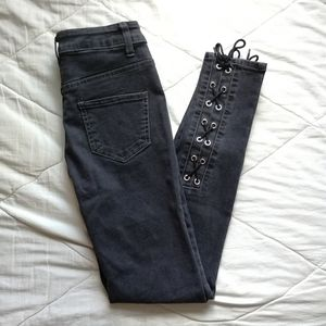 Black high rise jeans with lace up details W25